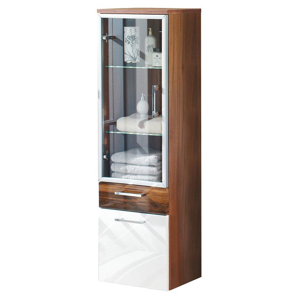 hochschrank ramin001 mit glast r in walnuss hochglanz wei. Black Bedroom Furniture Sets. Home Design Ideas