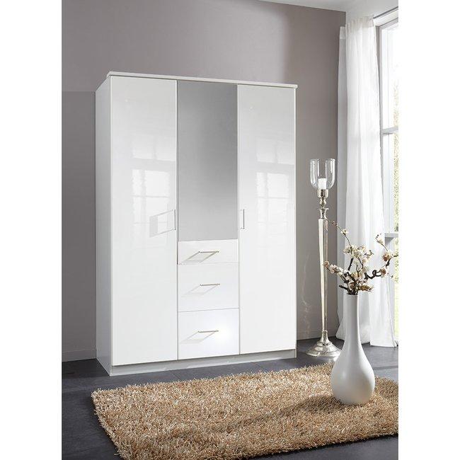 Kleiderschrank weiß hochglanz mit spiegel  Kleiderschrank Clackies005 Weiß / Hochglanz Lack Weiß mit Spiegel ...