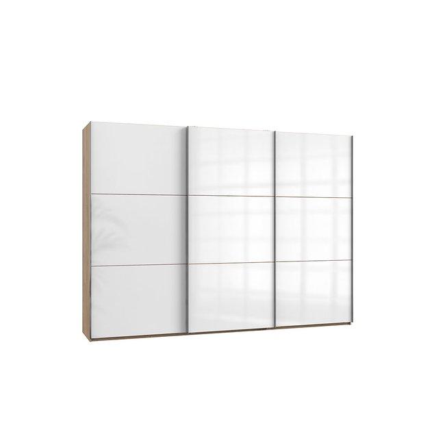 Schwebeturenschrank Leveles005 Plankeneiche Glas Weiss 909
