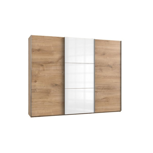 Schwebeturenschrank Leveles005 Plankeneiche Glas Weiss Mit