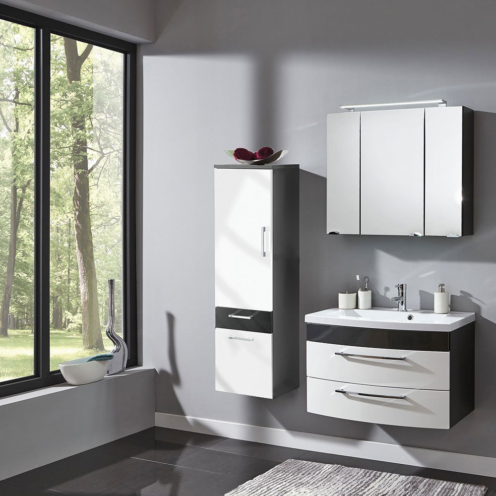badm belset ramin001 in anthrazit hochglanz wei 3 teilig. Black Bedroom Furniture Sets. Home Design Ideas