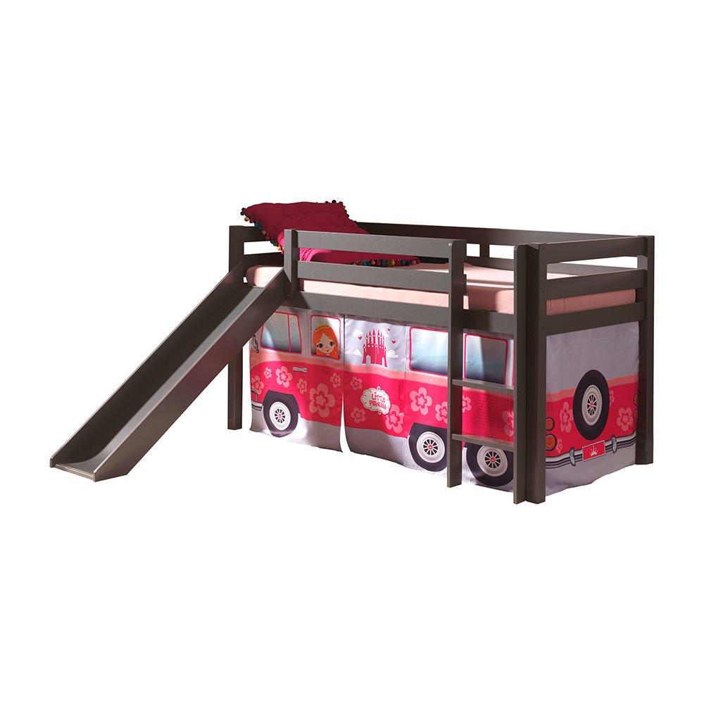 hochbett inop003 mit rutsche und textilset flower bus aus kiefer mass 429 90. Black Bedroom Furniture Sets. Home Design Ideas