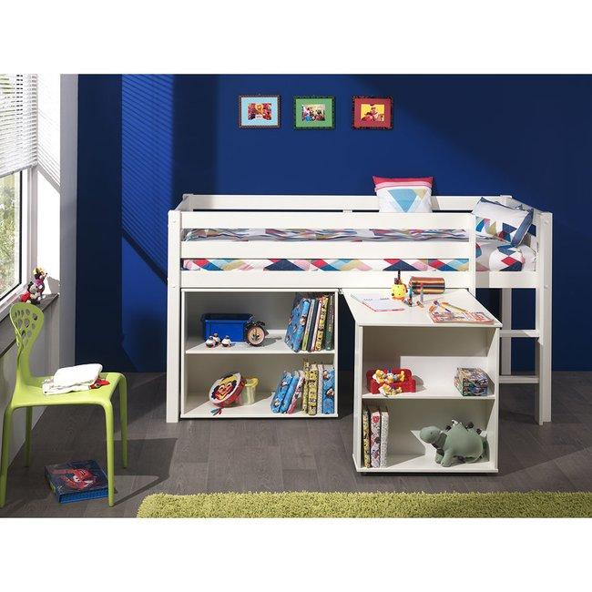 Hochbett Inop003 mit Schreibtisch und Regal Bett aus Kiefer ...
