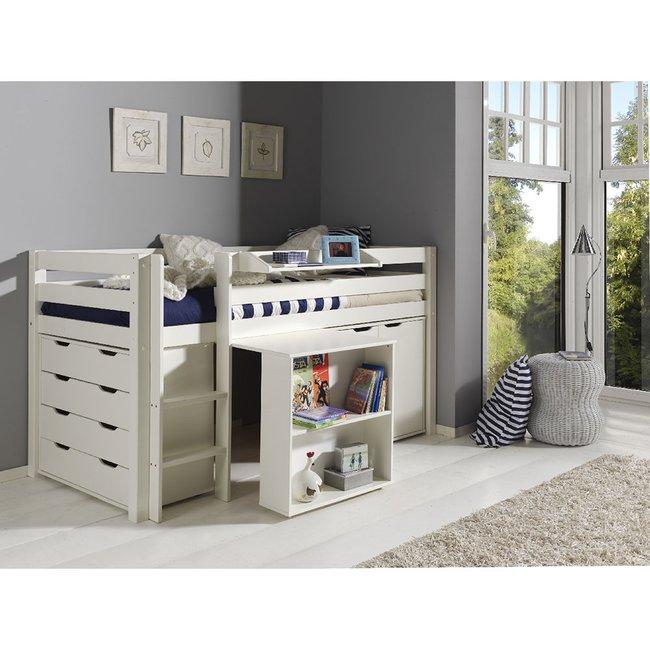 Hochbett Inop003 mit Schreibtisch, Schubladenkommde und ...
