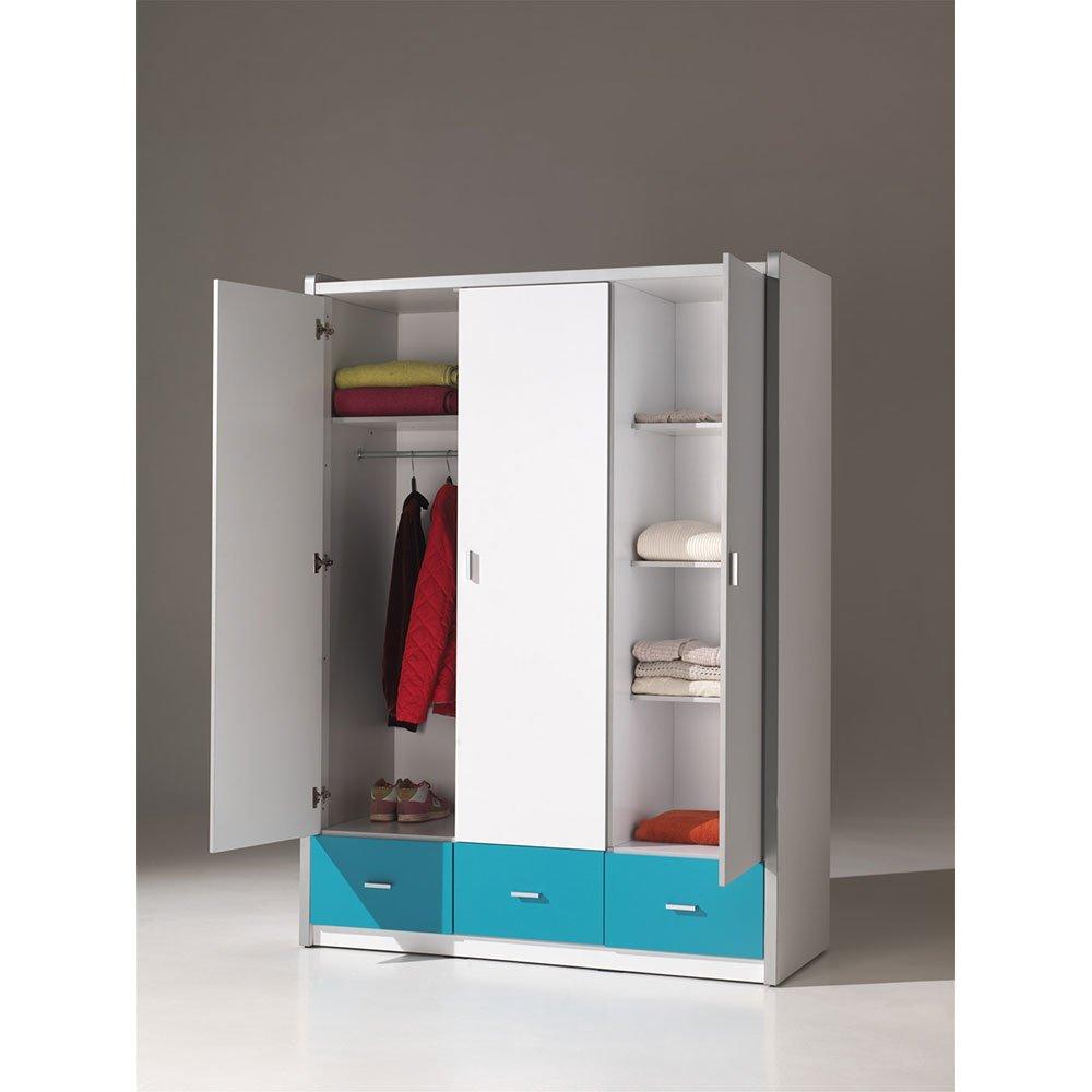 kleiderschrank 3 t rig lonnie006 in wei silbergrau 601 90. Black Bedroom Furniture Sets. Home Design Ideas