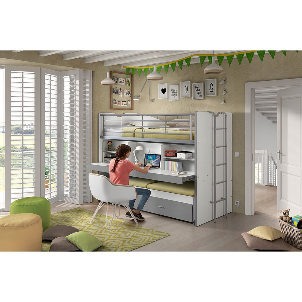 hochbett lonnie006 in wei silbergrau. Black Bedroom Furniture Sets. Home Design Ideas