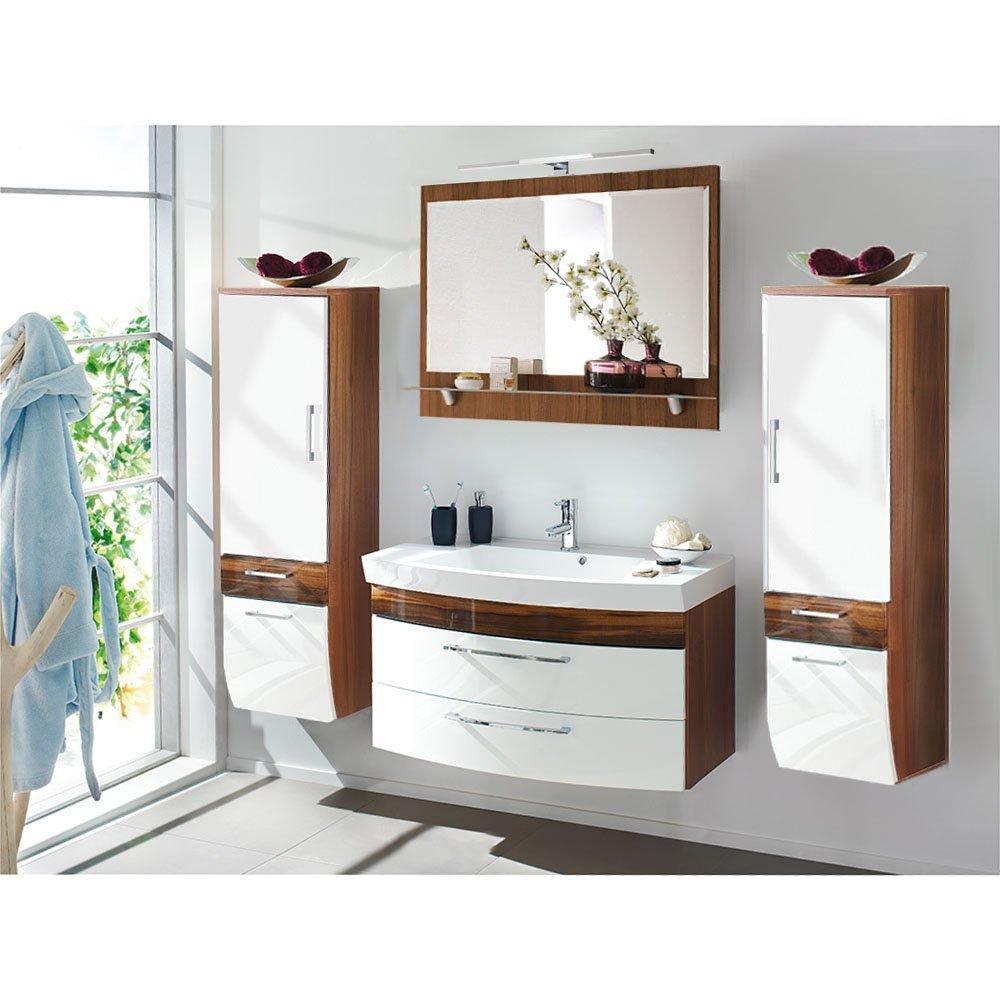 badm belset ramin001 in walnuss hochglanz wei 4 teilig. Black Bedroom Furniture Sets. Home Design Ideas