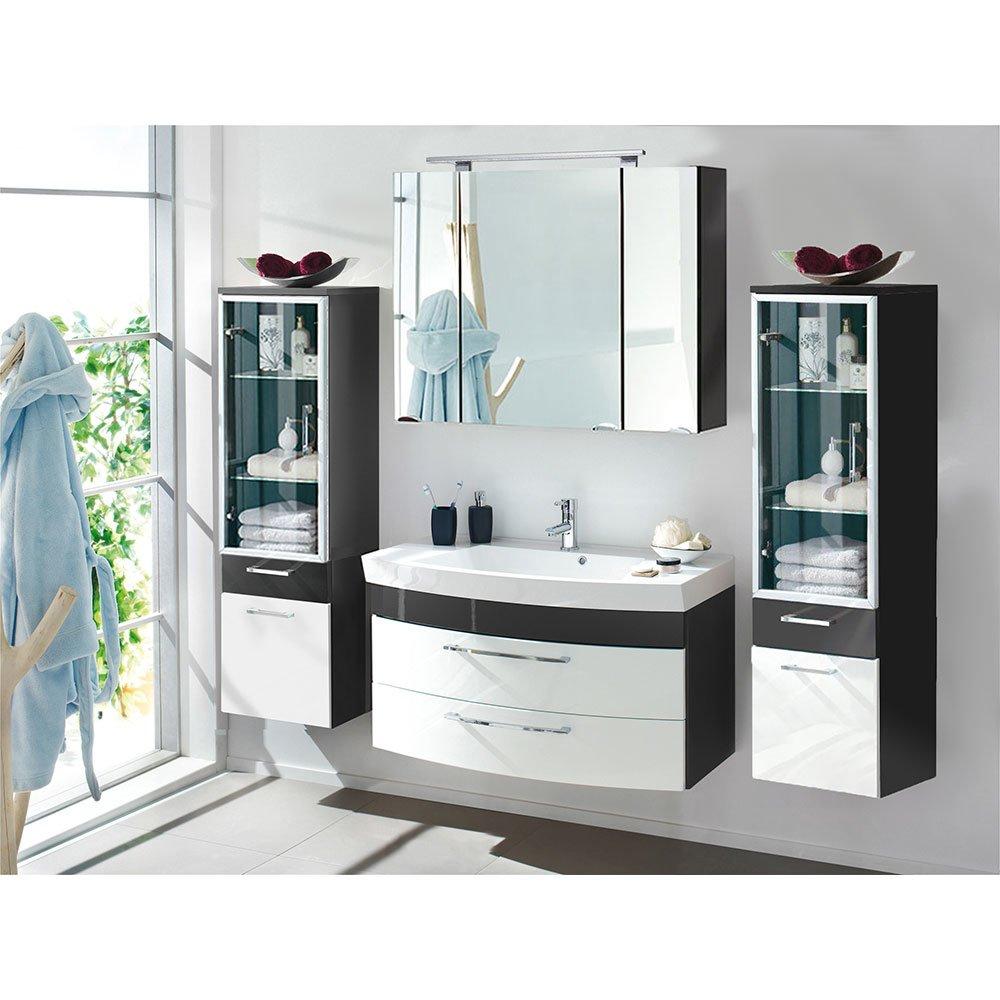 badm belset ramin001 in anthrazit hochglanz wei 4 teilig. Black Bedroom Furniture Sets. Home Design Ideas