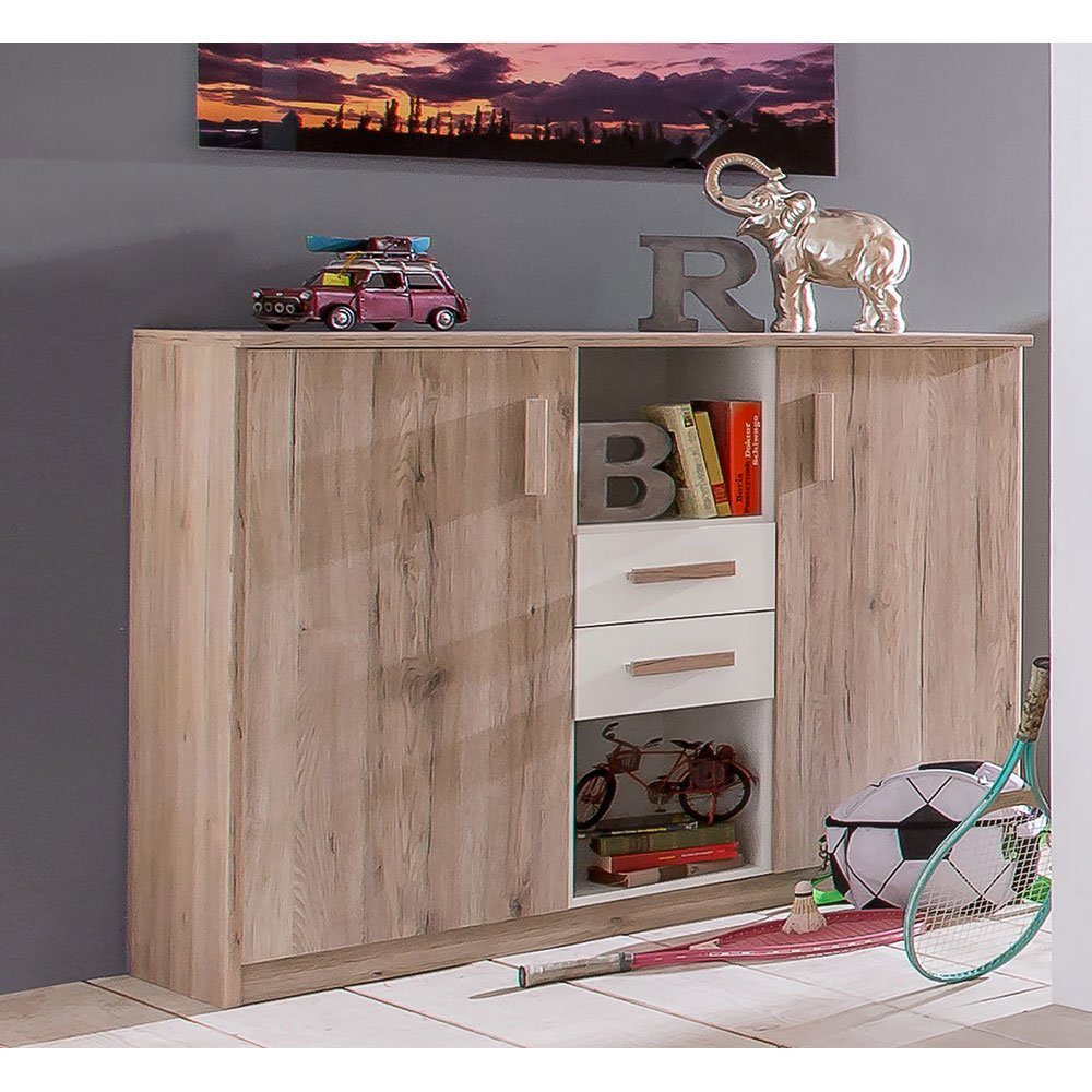 highboard sarixe005 in san remo eiche absetzung alpinwei. Black Bedroom Furniture Sets. Home Design Ideas
