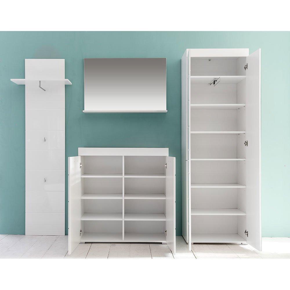 garderobenset amandies007 wei hochglanz wei 4 teilig 6. Black Bedroom Furniture Sets. Home Design Ideas