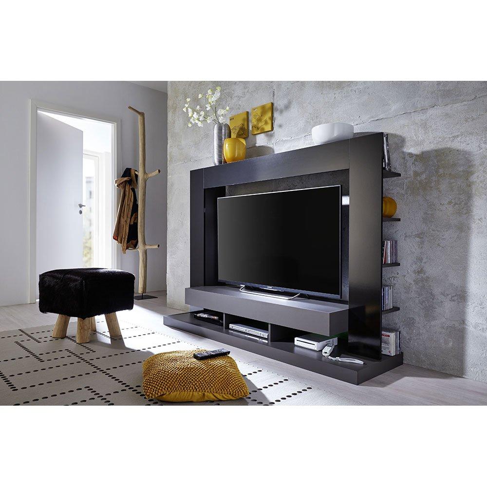 Wohnwand tbx18 grau schwarz glanz 229 00 for Wohnwand grau schwarz