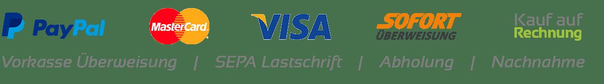 Günstige Zahlungsmittel Paypal, MasterCard, Visa, Rechnungskauf Logos