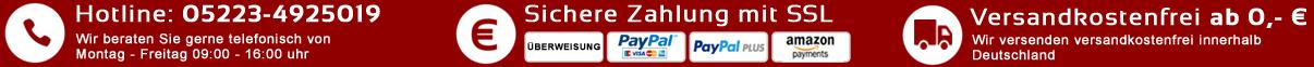Hotline, Sichere Zahlung, keine Versandkosten
